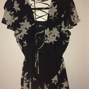 Lulu's Dresses - La Brea Black Floral Print Backless Lace-Up Dress